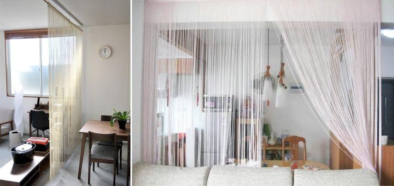 Комната с нитяными шторами